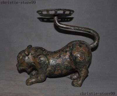 Old Chinese Fengshui Sacrifice Bronze Ware Tiger Beast Candlestick Candle Holder