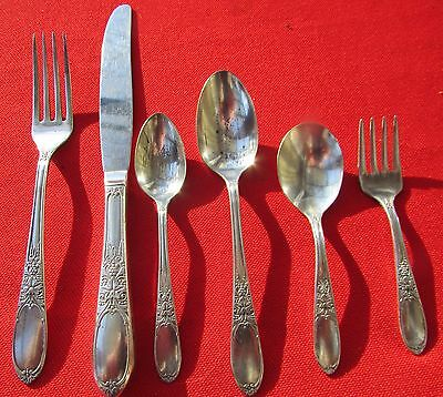 1934 Burgundy aka Champagne Pattern 6 Youth Pieces By Wm Rogers Silver Plate
