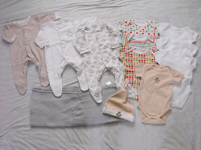Baby bundle unisex 0-3/Early days/George/Tiny Ted/Chickpea huge muslin/