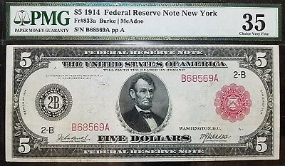 DH Fr 833a 1914 $5 Federal Reserve Note VF35 New York