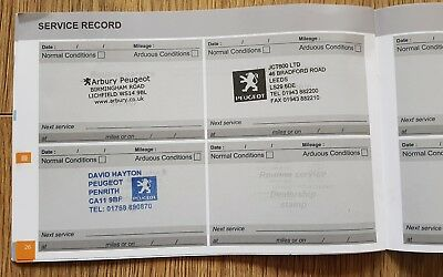New Genuine PEUGEOT Blank Service History Book Stamped