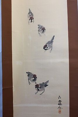 "Japanese hanging scroll Handpainted   ""Sparrows "" with box"