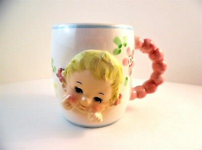 """Vintage  """"ALL GONE"""" Baby Cup 1961 Inarco, 3D Baby Face Cup Mug Pink Handle"""