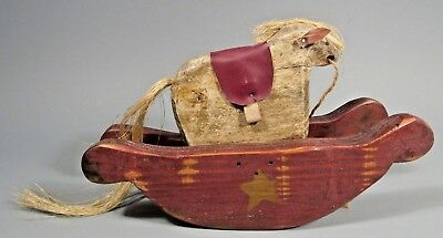 Fine American Carved Polychrome Wood Rocking Horse Folk Art Toy Signed & dated