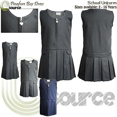 Girls Pinafore Box Dress Sizes Age 2-16 Pleated Dress Zip School Uniform