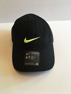 NIKE Boys Size 4-7 Ball Cap Hat Black / Volt Lime Green w/ Adjustable Back NEW