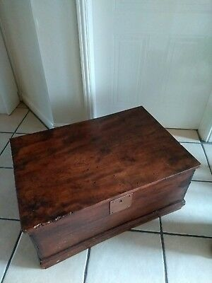 Antique wooden chest, dark wood, very old and well used. It is 75 x 53 x 33 cm.