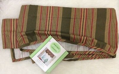 """WAVERLY Sweetwater Stripe AMANDA Olive Green Red Tan Tucked VALANCE 79"""" X 16"""""""