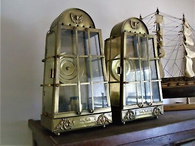 Pair of Antique Brass Cutty Sark Indoor Outdoor Ship Boat Lanterns Lamps Lights
