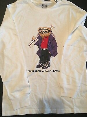 New Polo Ralph Lauren Boys Sz Medium 10-12 Youth Ski Bear Shirt L/S White NWT