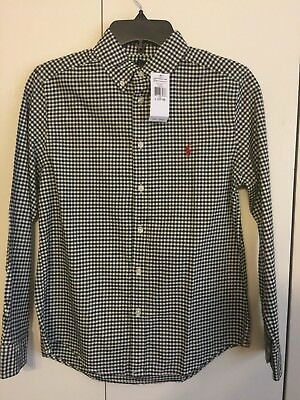 Nwt Polo Ralph Lauren Boy's Button Long Sleeve Black Checked Shirt Lg(14-16) $50
