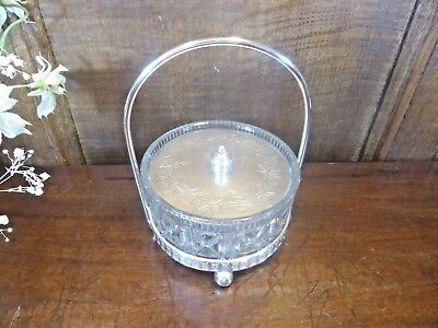 VGC Silver Plated GLASS DISH with ENGRAVED LID in PLATED STAND