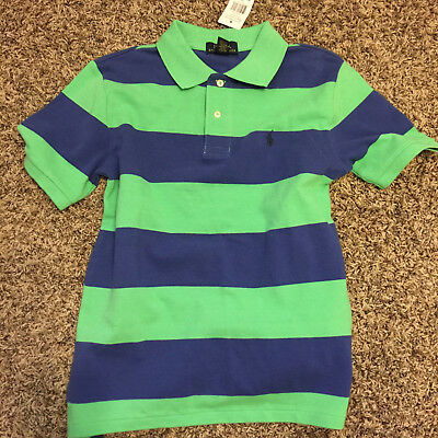 Polo Ralph Lauren Boys Green Blue Rugby Striped Cotton Mesh Polo Shirt NWT 10-12