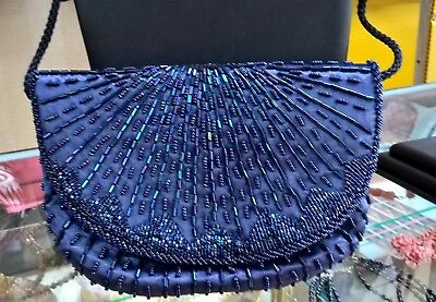 Royal Blue Beaded Clutch, with Satin Rope Strap