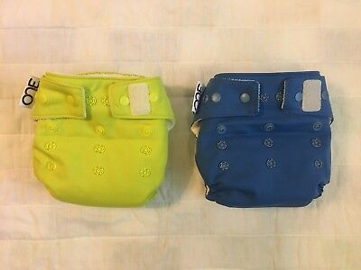 Grovia ONE AIO Cloth Diaper Size 10-35lbs. Lot of 2 Blue and Bright