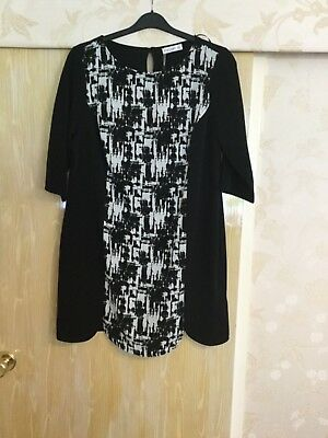 """Ladies """"Ilussion"""" Dress. Black With Printed Front Panel. Size 16"""