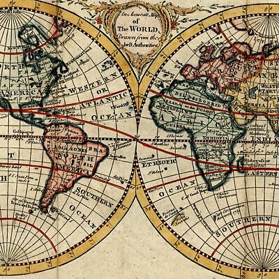 World in double hemispheres c.1766 Rollos decorative old map lovely example