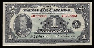 1935 Bank of Canada $1 Banknote - S/N: A0773303/B
