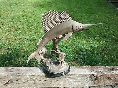Bronze or Brass Swordfish / Marlin Sculpture. Collection only