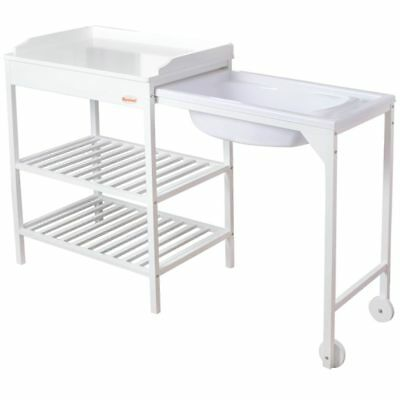 Baninni Bath and Changing Table Lavi Wood White Baby Infant Station BNBR006-WH