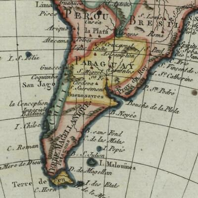 South America continent c. 1798 Bertholon old hand color map
