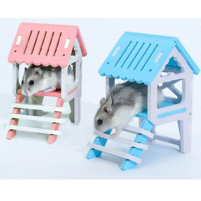 Hamster Guinea Pig House Loft Hideout Playground Exercise Toys With Ladders