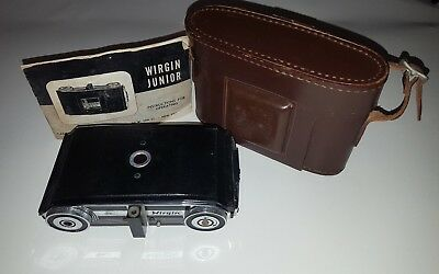 RARE Vintage WIRGIN JUNIOR Camera with Leather case & operating instructions