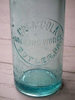 Pre 1915 Coca-Cola slug plate aqua straight sided bottle - Butler, PA