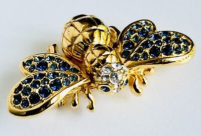 Signed Swarovski Crystal Gold Pave' Bee Pin~Brooch Very Rare Retired New