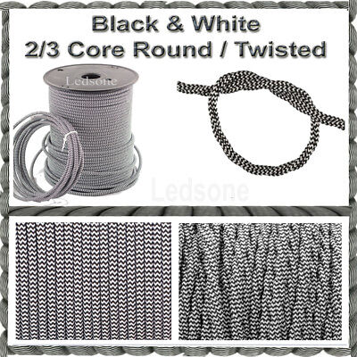 Twisted/Round Vintage Black& White Fabric Lighting Cable Flex 2/3 Core 0.75mm UK