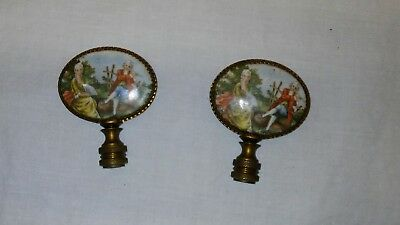 Pair Vintage Antique Brass Lamp Finial w 2 Sided Domed Glass Miniature Paintings