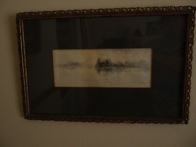 Antique Original Water Color Signed F.E. Crandall. Matted. Antique Frame