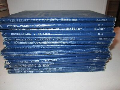 Lot Of 14 U.s. Coin Collector's Display Booklets - Penny Thru Half Dollar