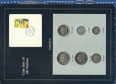 Coin Sets of All Nations Jamaica 1983 - 1986 UNC  w/card Pelican stamp
