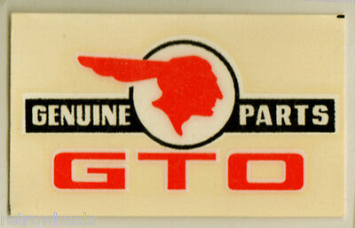 1960's Vintage Die Cut Water Slide Decal Pontiac GTO Genuine Parts