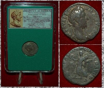 Ancient Roman Empire Coin MARCUS AURELIUS Victory On Reverse Silver Denarius