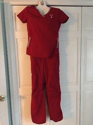 Koi By Kathy Peterson Red Scrub Set Size Medium Excellent Used Condition