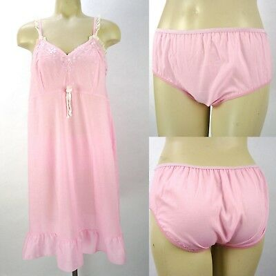Vintage Pink Summer Babydoll Nightgown Set w/Matching Panties Size S Embroidered