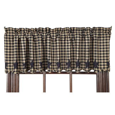 """Primitive Country Black Star Lined Valance 16X72 Cotton Check Size 1/2"""""""