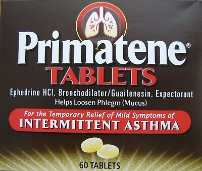 Primatene Asthma Relief Tablets - 60 Count - 12.5 Mg Of Ephedrine Hlc / Tablet