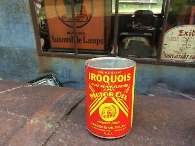 NOS Iroquois Cheif Pure Pennsylvania Motor Oil 1 quart qt. can FULL gas sign