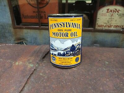 NOS 100%  Pure Pennsylvania Motor Oil 1 quart qt. can FULL gas sign GRAPHICS WOW