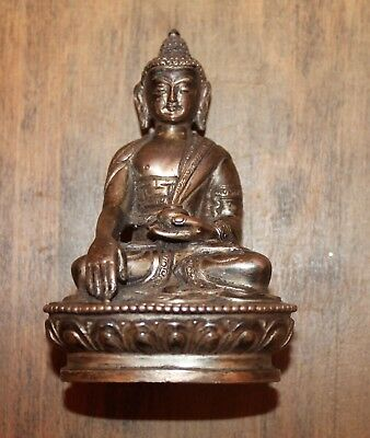 Antique Small Gilt Silver Seated Buddha Statue Signed with 4 Leaf Clover Mark