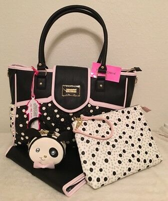 Betsey Johnson Flap Over Spotted Baby Diaper Bag Travel Set Nwt