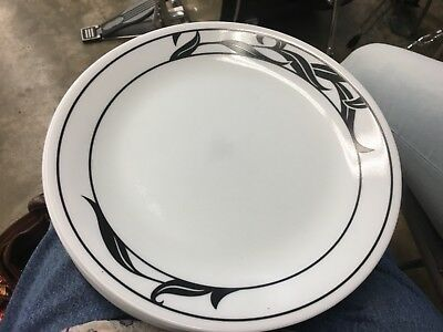 CORELLE LYRICS BLACK White Dinner Plate Dish Discontinued Pattern ...