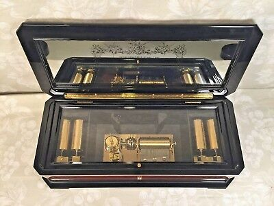 Vintage Reuge Music Box 5 Interchangeable Pin Cylinders Mirrored Song Sheet