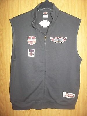 Harley Davidson Motorcycles Mens Size L Sleeveless Full Zip Vest Euc