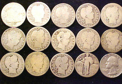 MISC Silver Quarters 25 Cents 25c ~Lot of Fifteen (15) Coins ~ 21NJ
