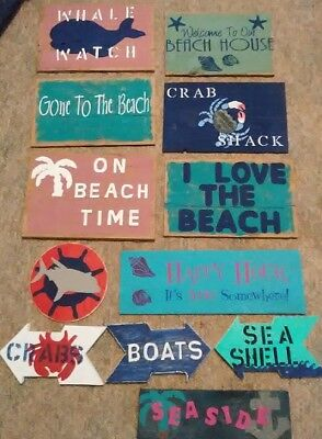 Primitive 12 SIGN Christmas GIFT SET Rustic Wood Beach Home Kitchen Wall Decor