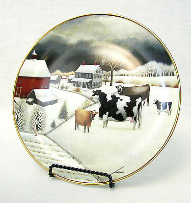 "Franklin Mint - ""Cows in Winter"" Cow Plate Lowell Herrero American Folk Art"